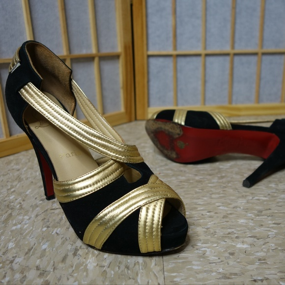 info for a323a cee82 Christian Louboutin sandal strappy black gold heel